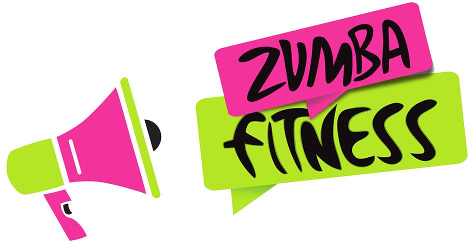 Logo przedstawiające kolorowy megafon z napisem Zumba Fitness.