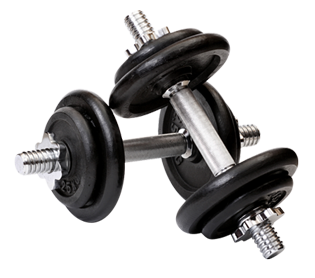 Czarne hantle używane w siłowniach wykorzystywane do ćwiczeń fitness, ćwiczeń ogólnych i rozwojowych.